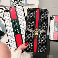 Gucci Popular logo color printing bee 6s gooch 6plus mobile phone shell iphone7plus embossed shell X