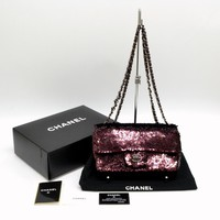 Authentic Chanel Matelasse CC Sequins Chain Shoulder Bag Bordeaux Black Coco