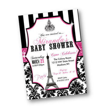 Paris Baby Shower Invitation pink black bling damask stripes eiffel tower chandelier printed or printable 5x7