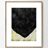 Stargazing - Mountain Print, Space Print, Abstract Watercolor, Collage Art, Stars, Nature Art, Surreal Art, Landscape Painting