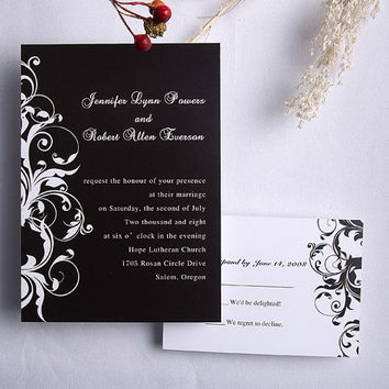 Modern white and black wedding invitation kit - free rsvp card with envelop - white, black damsk design -cutsom invites EWI023