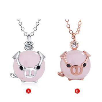 Cute Gold Rose Crystal Pig Pendant Necklace
