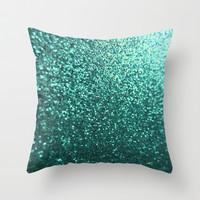 Teal Aqua Glitter Sparkle Throw Pillow by xjen94