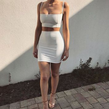 Fashion Simple Solid Color Bodycon Sleeveless Strap Crop Tops Short Skirt Set Two-Piece