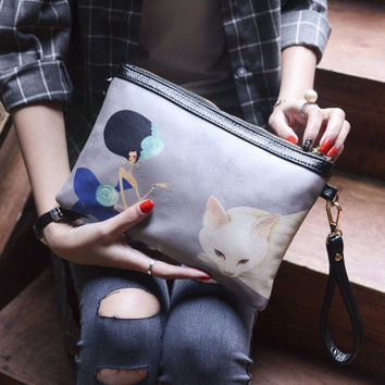 Korean Simple Design Print Cartoons One Shoulder Ladies Bags [4982894916]