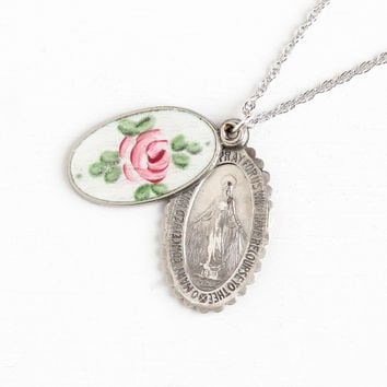 Vintage Sterling Silver Guilloché Enamel Miraculous Medal & Saint Christopher Slide Charm Necklace - 40s Religious Oval Rose Pendant Jewelry