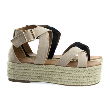 Fatima1 Natural Beige Wrapped Espadrille Jute Flatform, Strappy Sandal. Women's Summer Shoes