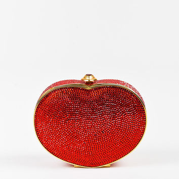 Judith Leiber Red Crystal Embellished Heart Minaudiere Clutch Bag
