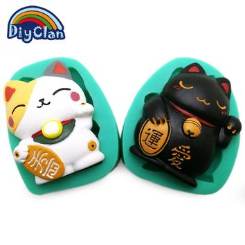 Lucky Fortune Cat Silicone Molds For Cake, Chocolate Fondant, Animal Resin Polymer Clay Tools