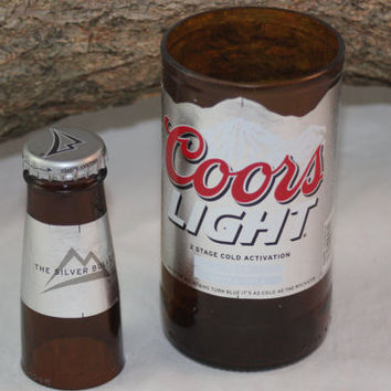 Unique Glassware Upcycled from Coor's Light Beer Bottles, Coors Light Gift Set