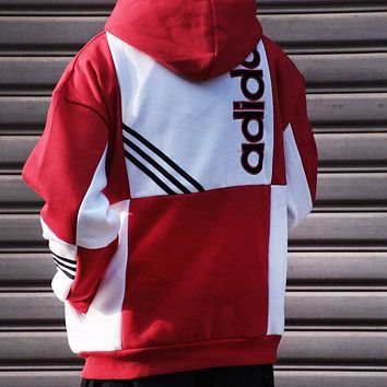 Adidas New Trending Women Men Stylish Hoodie Sweater Pullover Top Sweatshirt Red