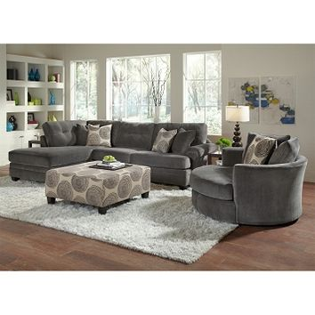 Cordoba Gray II Upholstery 2 Pc. Sectional (Reverse) and Swivel Chair