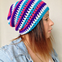 Crochet Slouch Beanie - Pink Blue White Stripe- Slouchy Beanie Hat