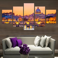 Modern Wall Art Home Decor Printed Canvas Painting Pictures 5 Panel Beautiful Countryside Night Living Room Modular Painting
