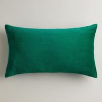 Emerald Green Velvet Lumbar Pillow - World Market