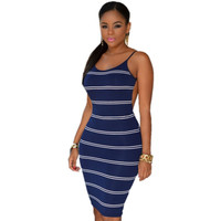 2016 Hot Sexy Ivory Black/Navy White Stripes Open Back Bodycon Dress Black Friday Classic Low-Cut Woman Split Bodycon Dress