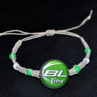 #Green #Bud Light #Lime #Recycled #Beer Cap #Hemp Macrame Adjustable Bracelet