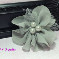 Gray chiffon and tulle petal flower with pearl center - fabric flowers - wholesale flowers - handmade flower - diy - hair clip flower