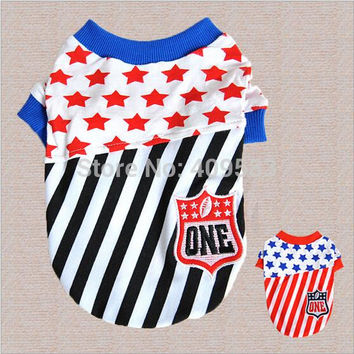 2015 New Clothing For Pets Star Striped Brand Shirt  Products XXS XS  Dog Costumes For Puppy Animals Chihuahua Dachshund Pitbull