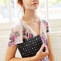 Stud-Embellished Tri-Gusset Shoulder Bag- Black One