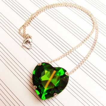 Heart Of Oz - Large Green Crystal Swarovski Pendant Necklace