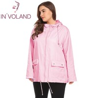 IN'VOLAND Plus Size XL-5XL Women Rain Jacket Coat Hooded Casual Large Raincoat Drawstring Hem Solid Waterproof Jacket Big Size