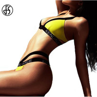 [FREE SHIPPING] Yellow KYLIE+KENDALL Bandage Swimsuit Triangle Bikinis Set