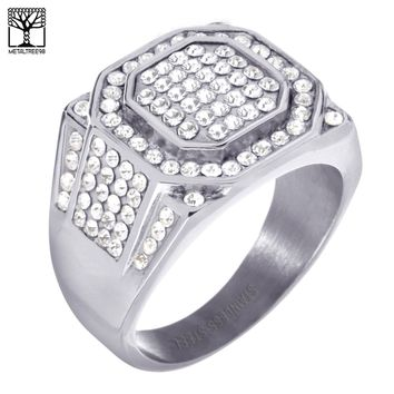 Jewelry Kay style Men's Fashion Lab Diamond Stainless Steel Silver Plated Band Pinky Ring SSR 303S