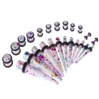 40 Pieces Tie Dye Gauges Kit Tapers and Plug 8G-00G with Clear Plugs 14G-0G