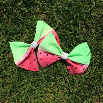 Watermelon Hand-Painted Denim Large Bow