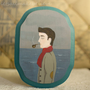 Original Art Acrylic Painting on Wooden Plaque Portrait of Gentleman With Pipe Affordable Original Art 4x6 Colin