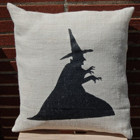 Halloween, Witch Pillow, Burlap Pillow, Halloween Decoration, Wicked Witch, Wizard of Oz, Melting Witch, I'm Melting, Halloween Pillow,Witch