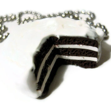 Polymer Clay Chocolate Cake Necklace Fake Miniature Food Jewelry