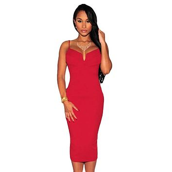 Red Plunging V Neck Midi Dress