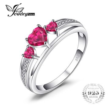 JewelryPalace Love Heart 0.9ct Created Red Ruby 3 Stones Anniversary Promise Ring Charm 925 Sterling Silver Rings For Women Gift