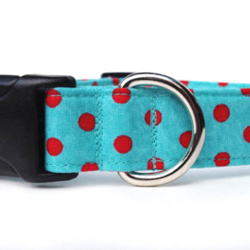 Polka Dot Dog Collar / Red and Aqua Dog Collar / Red Aqua Polka Dot Dog Collar / Red Blue Dog Collar / Adjustable Dog Collar
