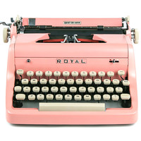 1955 Pink Royal Quiet De Luxe Typewriter, Professionally Serviced, Pink Typewriter, Royal Typewriter, Working Typewriter, Gifts For Writers