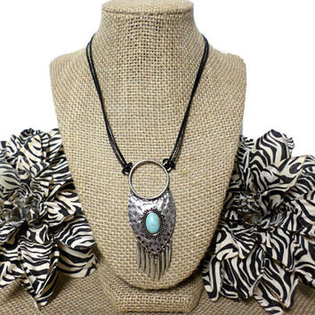 Boho Silver and Turuqoise Feather Silver Round Circle Tribal Pendant Black Leather Cord Necklace, long silver turquoise charm necklace, gift