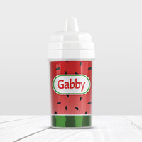 Watermelon Personalized Sippy Cup - Red and Green Design - 10oz BPA Free - Made to Order