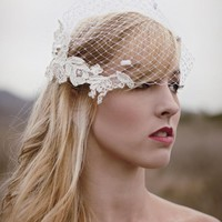 Ready To Ship- Pure White Birdcage Veil With Dots | Luulla