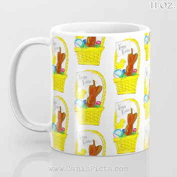 Vintage Easter Chocolate Bunny 11/12/15 oz Mug Dishwasher Microwave Safe Cup Tea Coffee Drink Cute For Her Him Office Rabbit Egg Card Basket