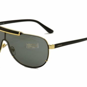 Versace Men's VE2140 2140 1002/B7 Gold/Black Shield Sunglasses