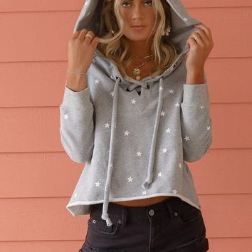 Going Up Gray Star Cropped Sweatshirt
