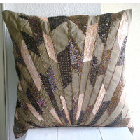 Throw Pillow Covers Accent Decorative Couch Sofa 16x16 Inches Champagne Brown Silk Pillow Cover Embroidered Sequins Beads Glamorous Streaks