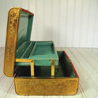 Vintage Early Farrington Asian Red Silk with Gold Engraved Metal Trim Jewelry Box - Sea Foam Aqua Green Velvet BiLevel Interior Vanity Case