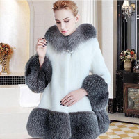 Mink Fur Coats Women Black White Luxury Faux Fur Coat Jacket Plus Size Hooded Long Fake Fur Coat Winter Overcoat Outerwear