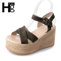 HEE GRAND 2017 Flock Gladiator Sandals Platform Wedges Summer Casual Buckle Shoes Woman Sexy Fashion High Heels XWZ4022