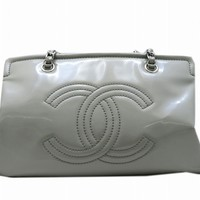 Chanel Patent Leather Chain Shoulder Bag Earth Grey Free Shipping