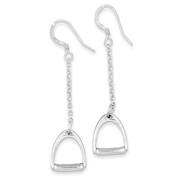BRANTLEY AND CO Sterling Silver Polished Horse Stirrup Dangle Earrings-Ben Brantley & Company