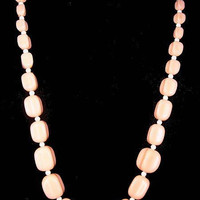 """Pink Lucite Bead Necklace Square Beads Brass Barrel Clasp Single Strand 24"""" Boho Vintage"""